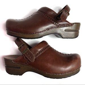 Dansko Shoes - Dansko Brown Clogs Sling Back Strap Leather Upper